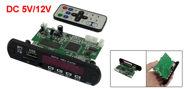 Car USB 2.0 Audio Plug TF Card Remote Control Speaker Mp5 Decoder Board 5V/12V