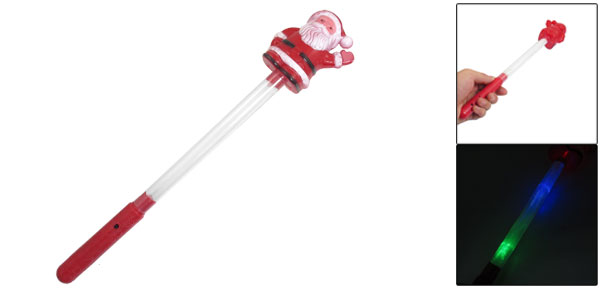 Red Plastic Grips Santa Claus Design Blinking LED Light Glow Stick Wand