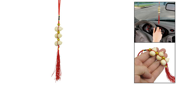 Vehicle Interior Decor Red Tassel Wood 3-Gourd Pendant Hanging