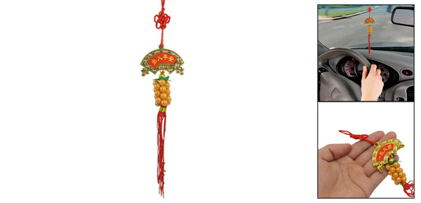 Vehicle Red Tassel Apricot Plastic Beads Linked Pendant Hanging Decor
