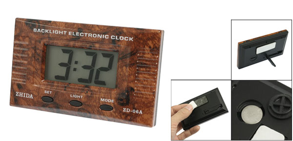 Car Home Office Adhesive Wooden Pattern Date Time LCD Digital Clock Brown