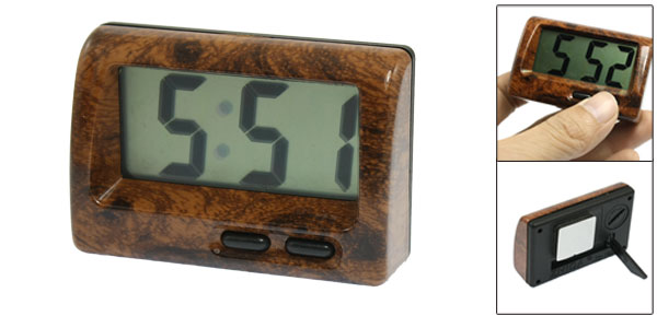 Car Dashboard Home Desk LCD Display Date Time Digital Electronic Clock Brown