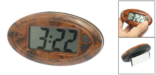 Car Adjustable Oval Plastic Date Time LCD Digital Electronic Clock Brown