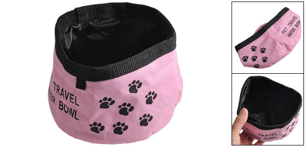 Pink Black Cloth Paw Pattern Dog Travel Collapsible Water Bowls
