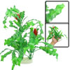 "15.7"" x 13.4"" Red Dual Flower Green Plastic Plant for Fish Tank"