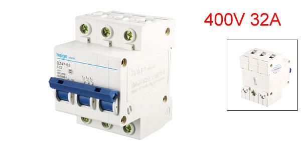 Overload Protection Three Pole 3P Miniature Circuit Breaker 400V 32A