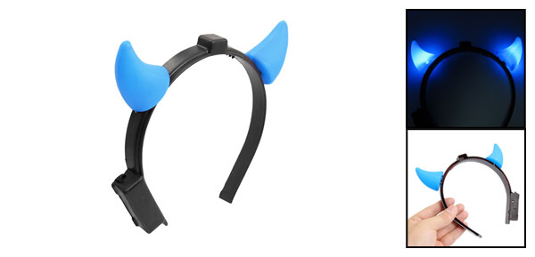 Halloween LED Flash Plastic Demon Ox Horns Headpiece Blue Black