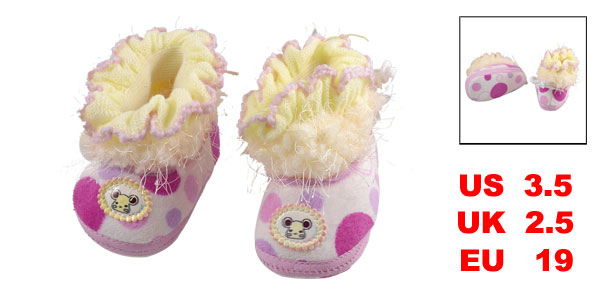 Light Yellow Pink Elastic Fabric Cartoon Pattern Infant Shoes US 3.5