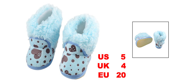Warm Cotton Padded Baby Boots Rubber Bottom Slip Toddler Shoes US 5