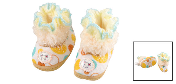 Winter Warm Dot Pattern Beige Plush Bottom Baby Infant Shoes UK 2.5