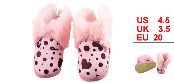 Pink Plush Dots Print White Back Shoelace Cotton Toddler Shoes EU 20