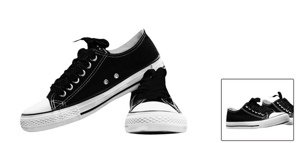 Unisex Black White Capped Toe Metal Eyelets Lace Up Canvas Shoe Us Size Men 7/Women 9