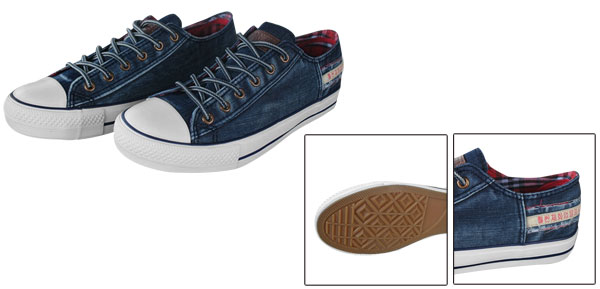 Unisex Dark Blue Washed Denim Canvas Lace Closure Sneaker Shoe Us Size Men 8/Women 10