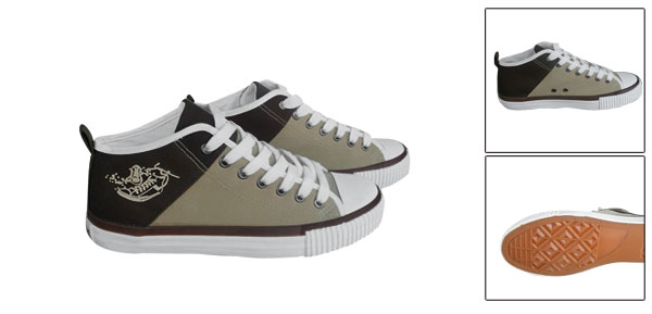 Unisex Khaki Browm Embossed Shoe Pattern Canvas Upper Shoe Us Size Men 7/Women 9