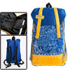 Mens Blue Yellow Two Side Zippered Pockets Fashion Panel Backpack