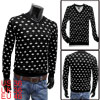Mens Black White Casual V Neckline Pullo...