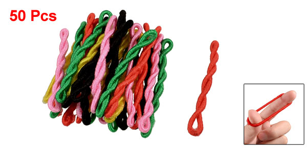 50 Pcs Assorted Color Velet Wrapped Elastic Rubber Hair Band for Women