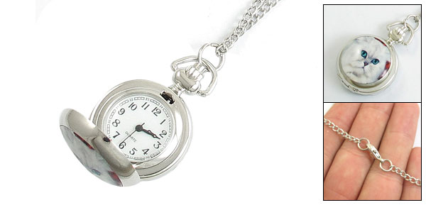 White Cat Pattern Hunter Case Necklace Watch for Ladies