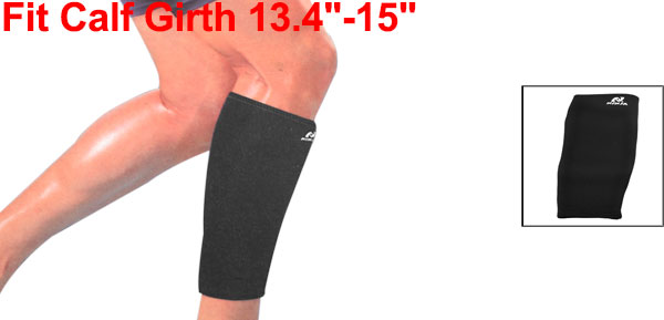 Men Black Neoprene Brace Sports Protective Leg Crus Calf Elastic Support