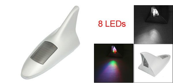 Solar Powered 8 LED Adhesive Plastic Car Shark Fin Dummy Antenna Silver Tone