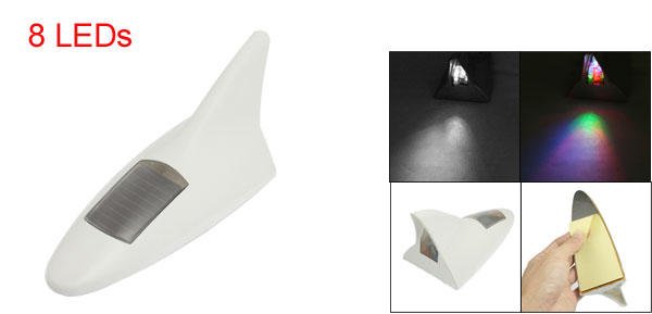 Solar Energy Car Roof 4 Colors Warning Light Shark Fin Dummy Antenna White