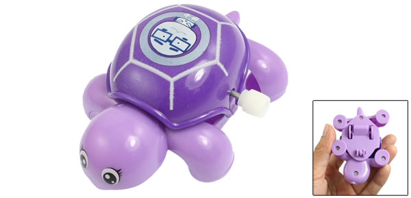 Child Kid Purple Plastic Headshake Turtle Wind Up Clockwork Toy