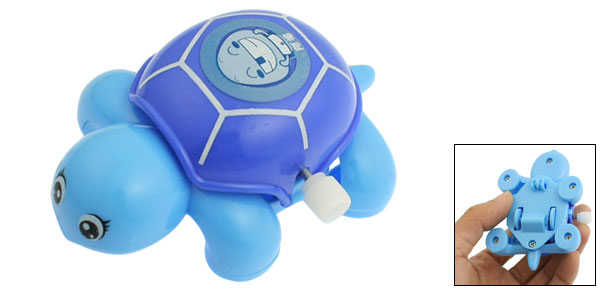 Child Kid Blue Plastic Headshake Turtle Wind Up Clockwork Toy