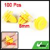 100 Pcs Yellow Car Fender Plastic Rivets Fastener 15mm x 10mm x 8...