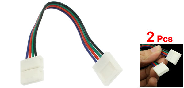 2 Pcs 10mm Width 4 Wired Connector Cables for 5050 RGB Strip Light