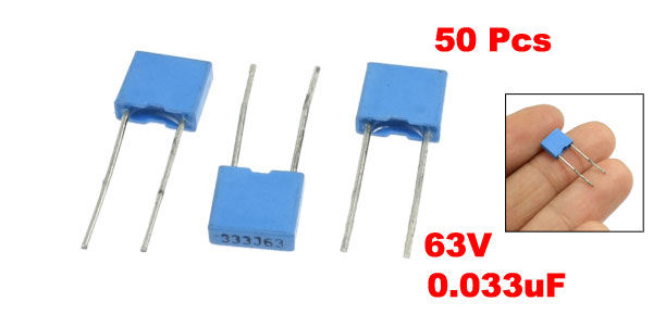50 Pcs Metallized Polypropylene Film Capacitor 0.033uF 63V Blue