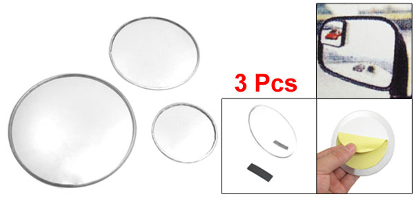 3 Pcs Auto Convex Round Rear View Blind Spot Mirror Silver Tone
