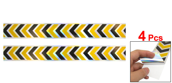 4pcs Yellow Balck Reflective Self Adhesive Warning Tape Sticker Decal for Car
