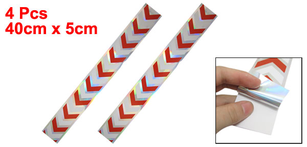 4 Pcs Vehicle White Red Arrows Printed Reflective Stickers