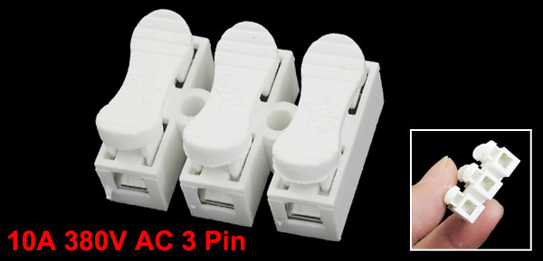 6mm Pitch 3 Pin 3P PCB Spring Terminal Blocks Connectors 10A 380V AC