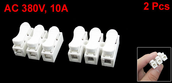 AC 380V 10A 3 Pin PCB Screwless Spring Terminal Blocks 2Pcs