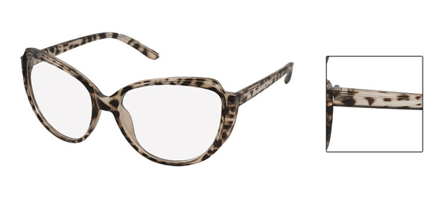 Clear Brown Leopard Pattern Plastic Single Bridge Full Rim Lens Plain Glasses for Woman