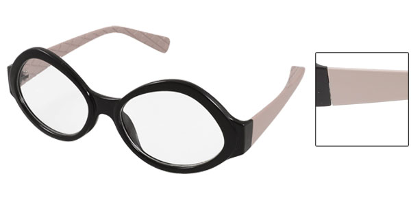 Pink Plastic Arms Black Frame Round Clear Lens Glasses for Women