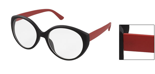 Red Plastic Arms Black Full Frame Round Clear Lens Glasses for Women
