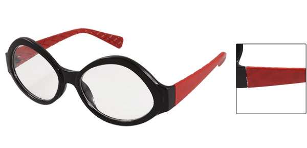 Red Plastic Arms Black Frame Round Clear Lens Glasses for Women