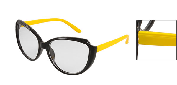 Yellow Plastic Arms Black Full Frame Round Clear Lens Glasses for Lady