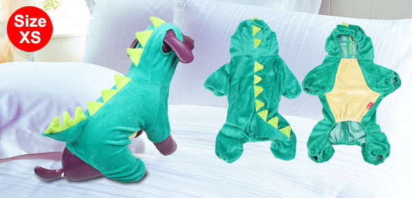Halloween Plush Dinosaur Design Dog Costume Clothes Pet Jumpsuit Green XS