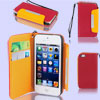 Red Faux Leather Magnetic Flip Protective Pouch Case Cover for iP...
