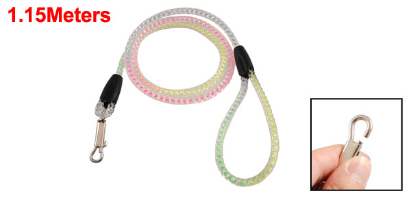 Assorted Color Plastic Crystal Twisted Pet Doggie Rope Dog Lead Leash 3.8 Ft