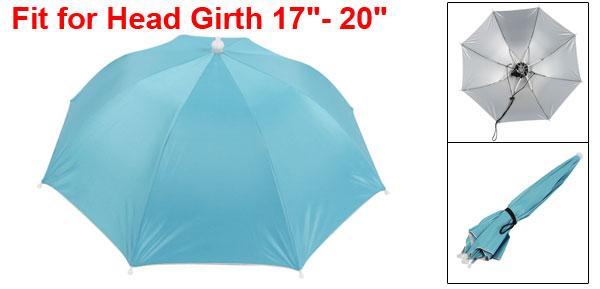 Steel Blue Silver Tone 8 Ribs Fishing Golfing Sun Rain Umbrella Hat Cap