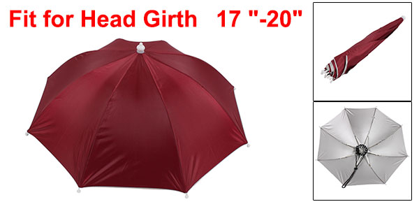 Burgundy Silver Tone Polyester 8 Ribs Fishing Golfing Sun Rain Umbrella Hat