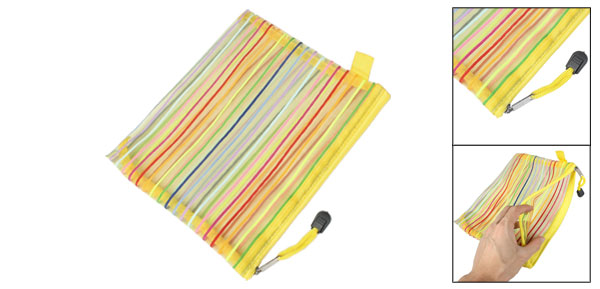 Multicolor Stripe Pattern A5 Paper Document File Pen Bag Folder Yellow