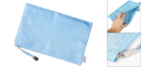 Light Blue Hex Pattern Water Resistant A5 Paper Doucument File Folder Bag