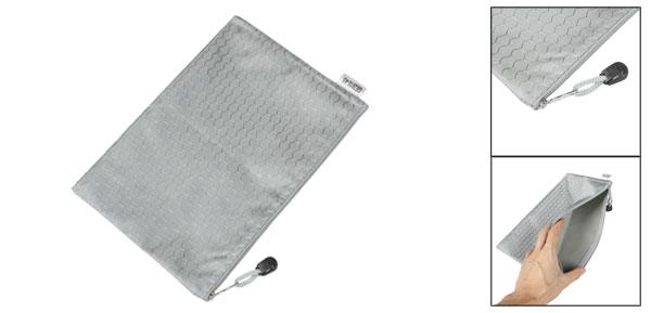 Gray Zipper Closure Nylon Hexagon Printed A5 Paper Files Bags Holder