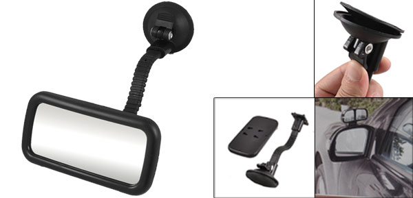 Automobile Interior Black Plastic Flexible Support Suction Rear View Mirror