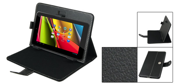 Black Faux Leather Folio Case Magnetic Cover for Cobalt 7